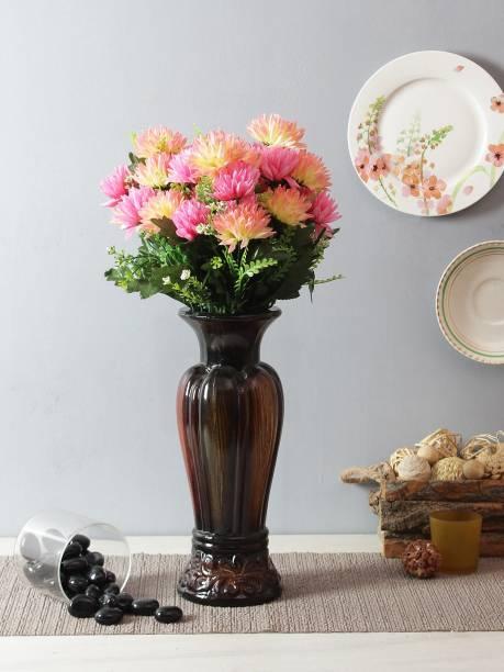 FOURWALLS Artificial Chrysanthemum Flower Sticks (12 Head, 40 cm Tall, Light/Pink) Pink Cosmos Artificial Flower