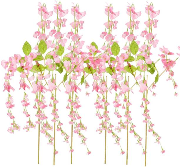 FOURWALLS Artificial Polyester and Plastic Hanging Wisteria Flower Vine (37 cm x 1 cm x 110 cm, Pink, Set of 6) Pink Westeria Artificial Flower