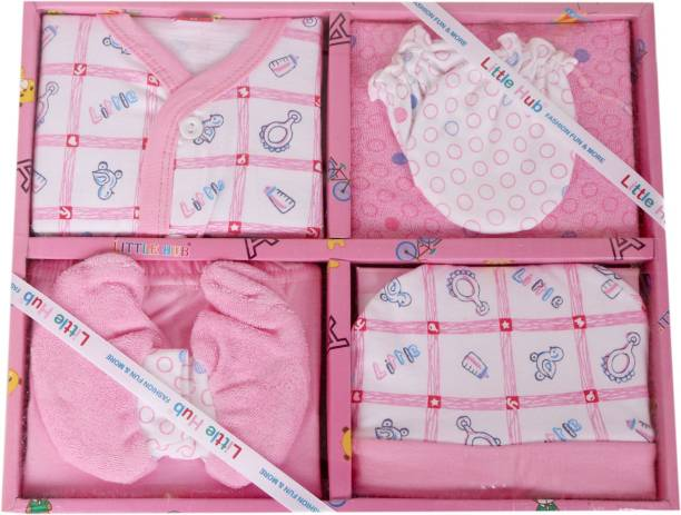 Star Kids New Born Baby Pink Color Gift Set