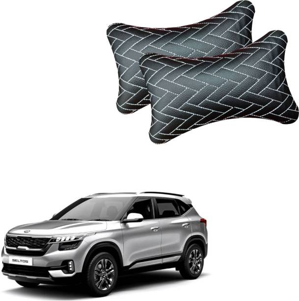 NIKROKZ Black Leatherite Car Pillow Cushion for Kia