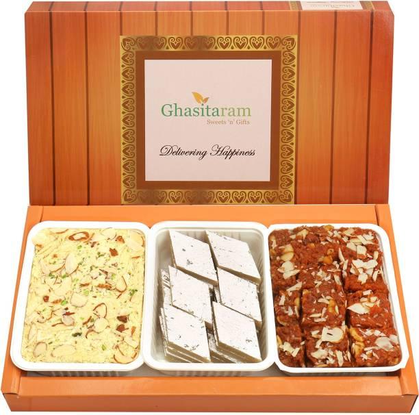 Ghasitaram Gifts Mithai-Kaju Katli, Dodha Barfi and Soan Papdi Box