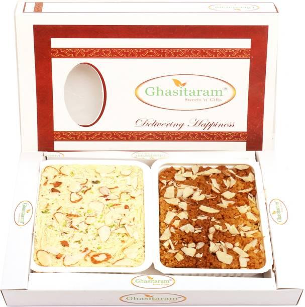 Ghasitaram Gifts Mithai-Milk Cake and Soan Papdi Hamper Box