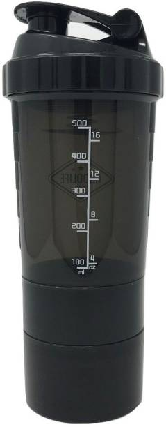 Quinergys ® Shaker Gym Water Bottle with 3 Layer Storage Compartments - Black 600 ml Shaker