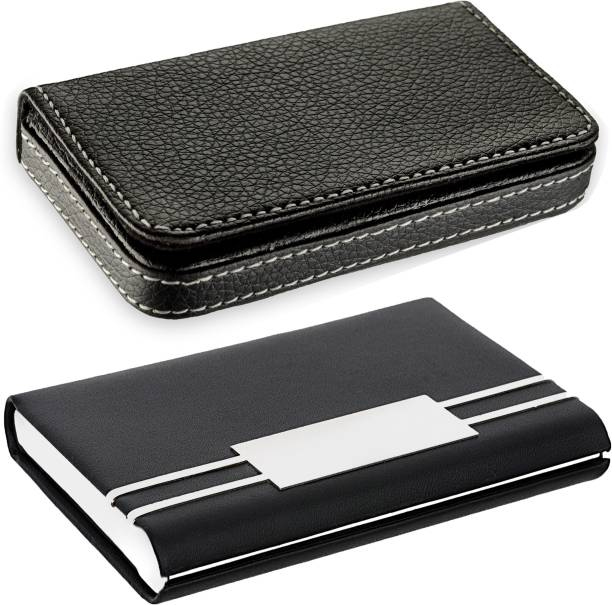 OFIXO High Quality   Pack of 2   Black Stylish Executive and Black Leatherite metal piece Credit/debit/ATM/ID/Visiting SUPER SLEEK, STURDY 10 Card Holder (Set of 2, Brown, Black) 10 Card Holder