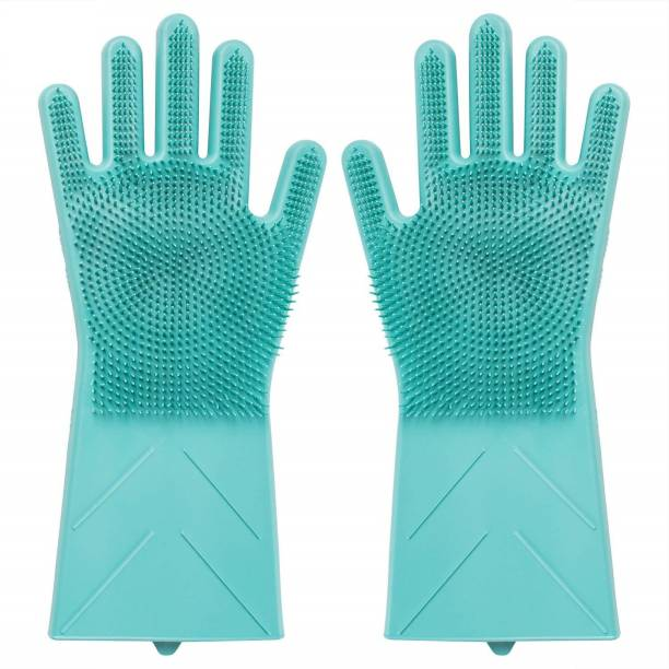 LakhanPal Magic Silicone Gloves wash Scrubber Gloves Reusable Cleaning Brush Gloves Heat Resistant Scrub Rubber Glove for Dish Washing Cleaning Kitchen Household Washing The Car Pet Hair Care Dry Glove