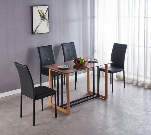 KRIJEN Glanza Metal 4 Seater Dining Set
