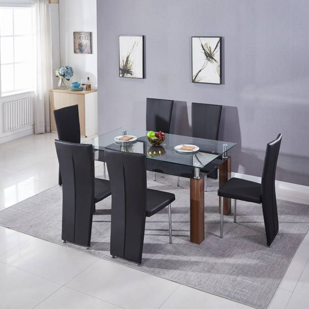 KRIJEN Aspire Engineered Wood 6 Seater Dining Set