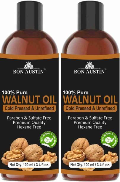 Bon Austin 100% Pure Organic Walnut oil Combo pack of 2 bottles of 100 ml(200 ml) Hair Oil