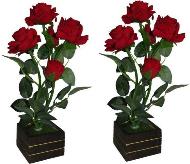 BK Mart Set of 2 Best for Home SHop Office Decoration Or Gift Red Rose Artificial Flower  with Pot