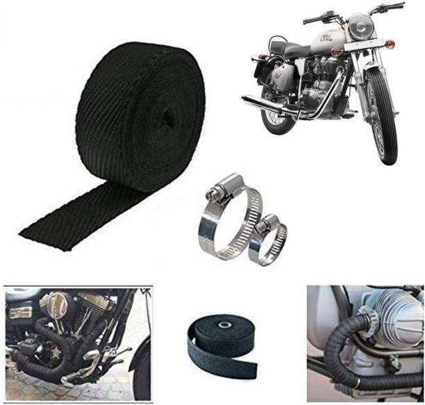 Ramanta 3 Meter Black Bike Silencer Wrap for Royal Enfield Bike Exhaust Heat Shield