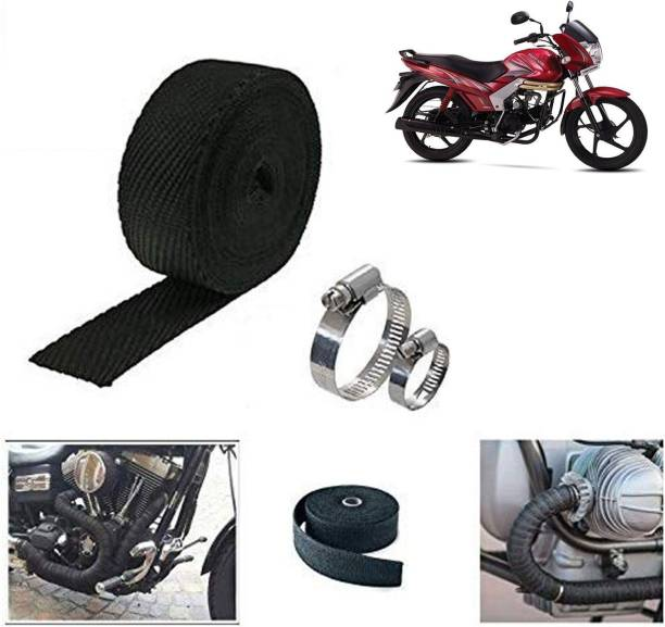 Ramanta 3 Meter Black Bike Silencer Wrap for Mahindra Bike Exhaust Heat Shield