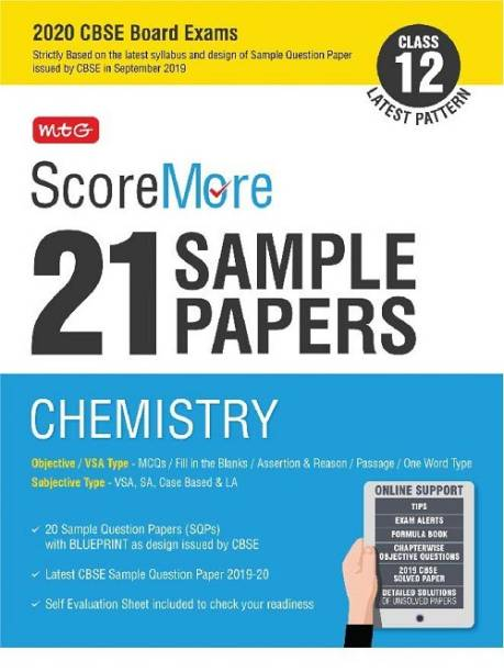 Scoremore 21 Sample Papers Cbse Boards as Per Revised Pattern for 2020 Class 12 Chemistry