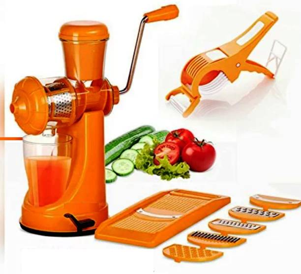 MYYNTI Plastic Hand Juicer Combo Fruit and Vegetable Juicer, 6 in 1 Vegetables Slicer, Vegetable Cutter with Peeler 2 in 1