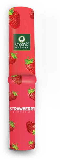 Organic Harvest Strawberry Flavour Lip Balm Enriched With Vitamin E & Benefits Of Mango Butter, For Dark Lips to Lighten, Lip Care for Dry & Chapped Lips, 100% Organic, Paraben & Sulphate Free For Girls & Women Strawberry