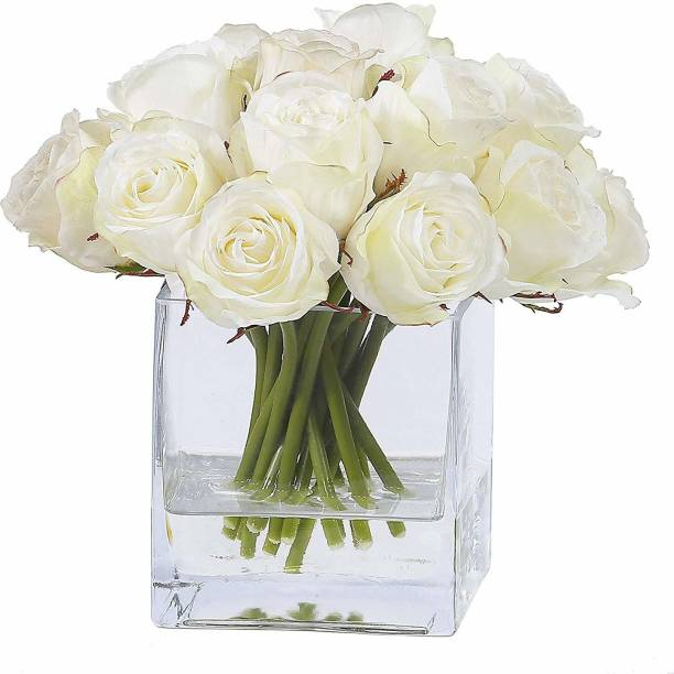 TIED RIBBONS Faux White Rose Flowers with Square Glass Vase for Home Decor, Center Table, Bedroom, Side Corners, Living Room Glass Vase