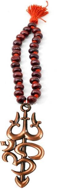 faynci Copper Om Trishul Wooden Chandan Mala Decorative Shpwpeace Car Hanging Ornament