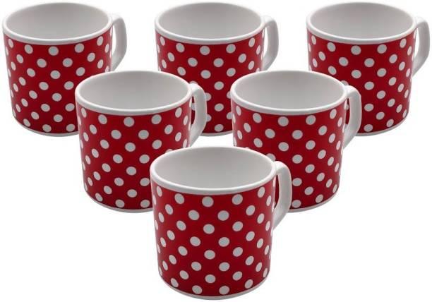 FARKRAFT Pack of 6 Ceramic Coffee & Tea Cups Set of 6 Ceramic Red cups