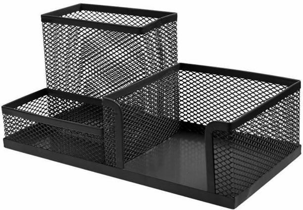 DALUCI 3 Compartments metal mesh office desk organizer