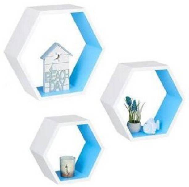 all crafts art 3 Hexaconer shape Wall Rack Shelf Floating Wall Shelf Unit Engineered Wood Display Unit