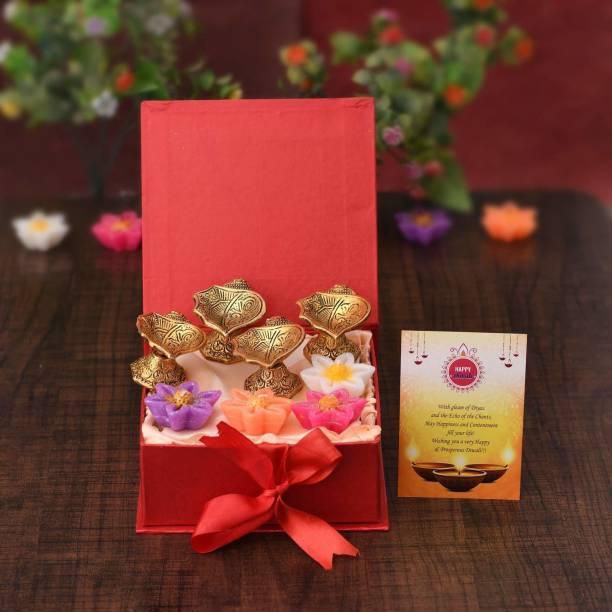 Collectible India Diwali Gift Combo Set - Metal Diya Oil Lamp - Diya for Puja - Set of 4 Floating Candles Wax Tealight, Special Greeting Card with Gift Box Aluminium (Pack of 4) Table Diya Set
