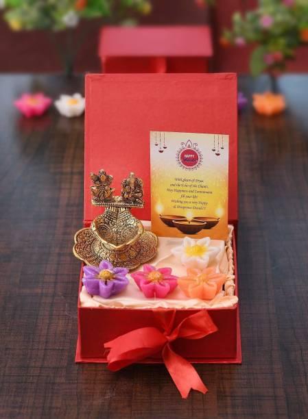 Collectible India Laxmi Ganesh Idol Diya Set of 4 Wax Candles Greeting Card Aluminium (Pack of 7) Table Diya