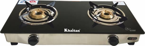 Khaitan 2 Burner BP-Nano Black Glass Manual Gas Stove