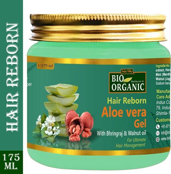 Indus Valley Bio Organic Hair Reborn Aloe Vera Gel With Bhringraj & Walnut Oil - For Ultimate Hair Management