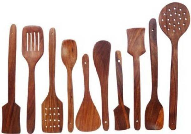 HomEnrich 1304 Cooking Spoons | Baking Spoons | Ladle | Spatula | Wood Ladle | Wood Spatula | Wood Spoons | Wooden Spatula | Wooden Ladle Brown Kitchen Tool Set