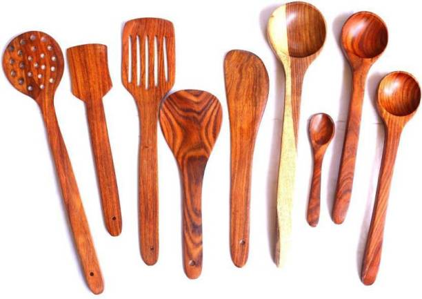 HomEnrich 1334 Cooking Spoons   Baking Spoons   Ladle   Spatula   Wood Ladle   Wood Spatula   Wood Spoons   Wooden Spatula   Wooden Ladle Brown Kitchen Tool Set