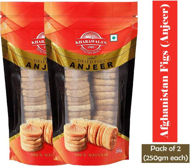 KHARAWALA'S Afghanistan Soft and Sweet Best Quality Figs (Anjeer) Pack of 2-500 gms (250 gms each) Figs