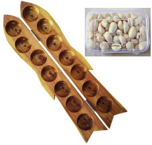 RKR Wooden Pallankuzhi with Educational Board Games Board Game
