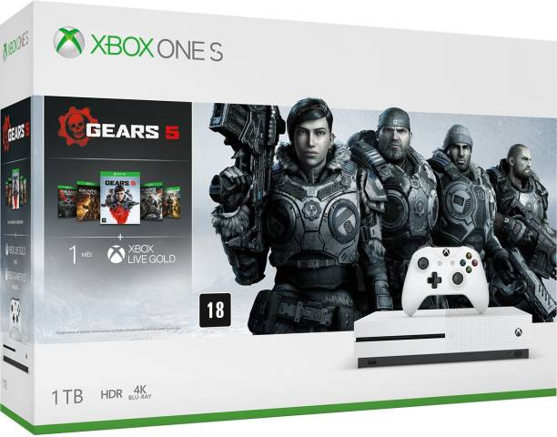 MICROSOFT Xbox One S 1 TB with Gears of War 5 , Gears of War Ultimate Edition: Gears of War 2, Gears of War 3 , Gears of War 4 , (White)
