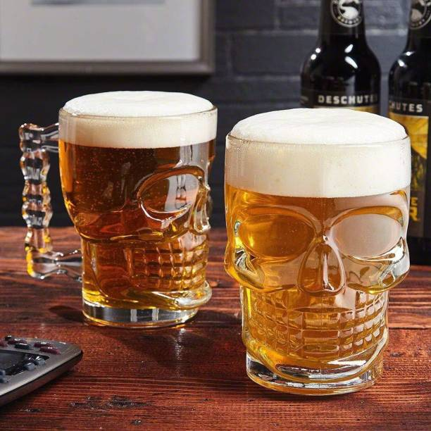 crecklo (Pack of 2) Skull Beer Mug 520 ML for Your Home Bar Glass Set