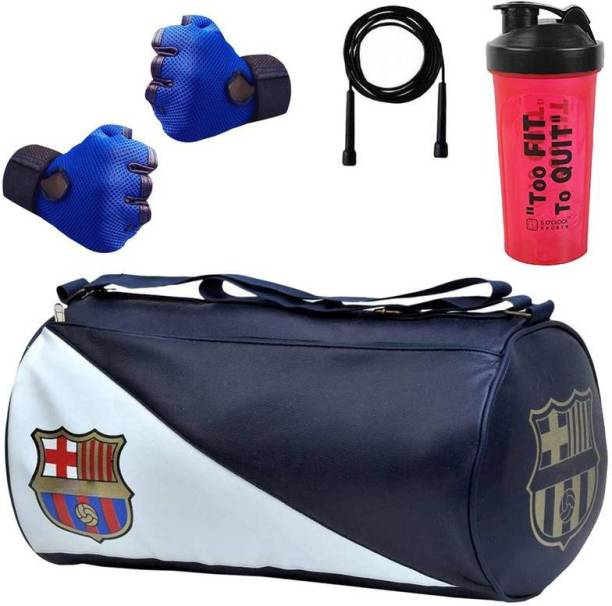 5 O' CLOCK SPORTS Leather Gym Bag,Skipping Rope, Shaker Gloves With Wrist Support Gym & Fitness Kit