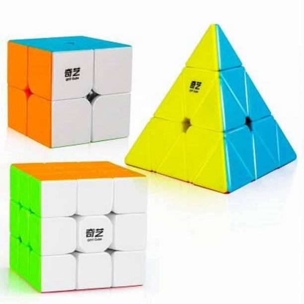 AGAMI Stickerless QiYi 2x2, 3x3 and Pyramid Qiming A