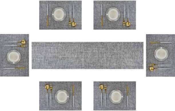 Royalkart Grey PVC, Silk Table Linen Set