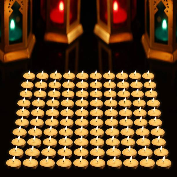 AuraDecor Pack of 100 Unscented Tealight Candles, Daily Use, MultiPurpose, Birthday, Festive, HomeDecor Candle