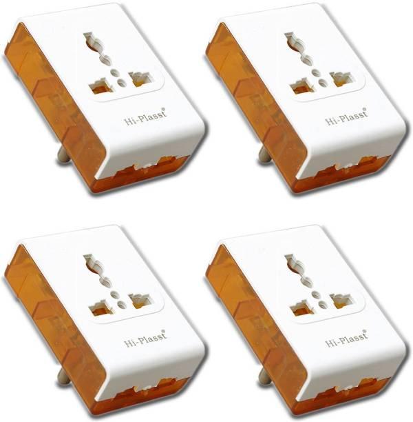 HI-PLASST 4 Pcs Traveller Multiplug Electrical Socket Adapter Socket Plug 6 A Three Pin Socket