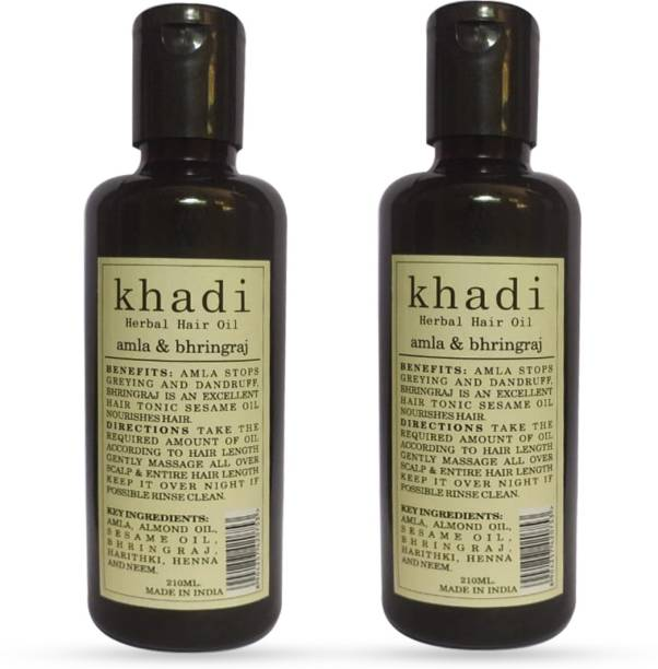 Khadi Herbal Amla & Bhringraj Hair Oil (Promotes Hair Growth) Pack Of 2 Hair Oil