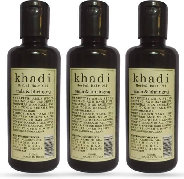 Khadi Herbal Amla & Bhringraj Hair Oil (Promotes Hair Growth) Pack Of 3 Hair Oil