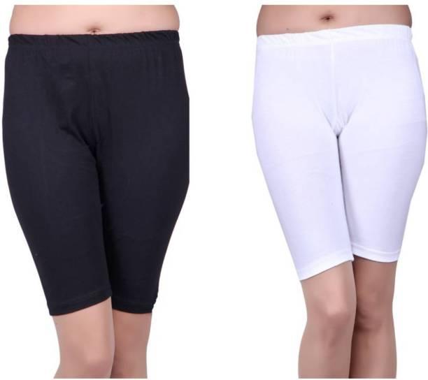 Apraa & Parma Solid Women White, Black Sports Shorts