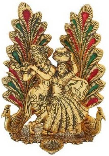 WELLWISHERS CRAFT Radha Krishna Idol Statue with Diya Peacock Design Decorative Showpiece Decorative Showpiece  -  20 cm