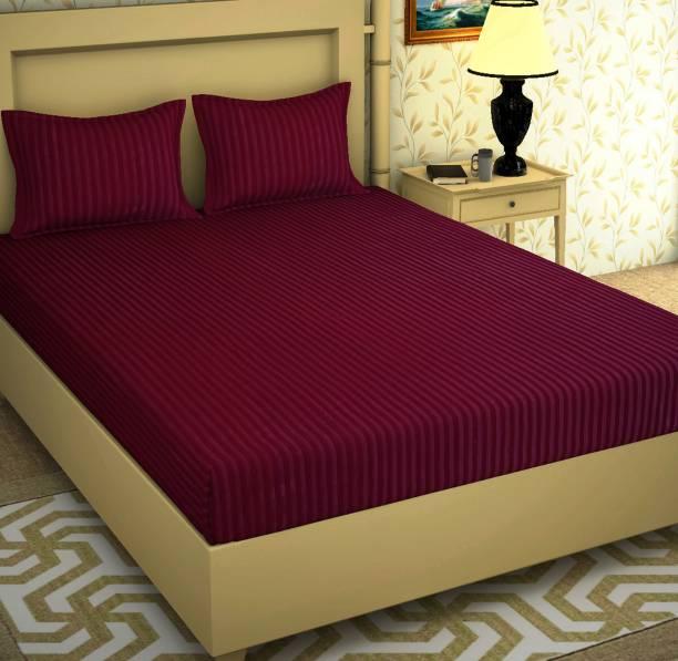 BROMWICK 144 TC Microfiber Double King Solid Bedsheet
