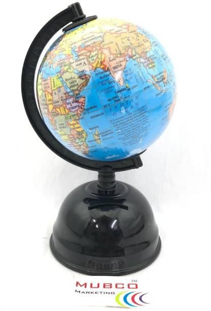 Mubco World Globe Earth Map | With Money Bank | 18 cm | Desk & Table Top Political World Globe
