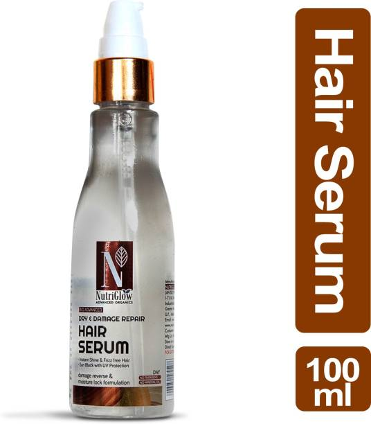 Nutriglow Advanced Organics Dry & Damage Repair Hair Serum/Instant Shine/Fizz-free hair/No Parabens