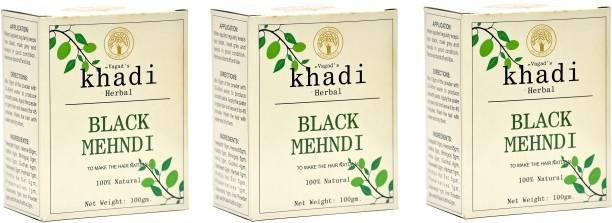 vagad's khadi Herbal Hair Color, Black, 300g Pack of 3 Natural Mehendi