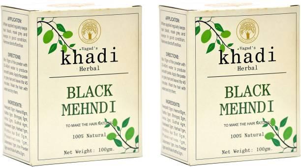 vagad's khadi Herbal Hair Color, Black, 200g Pack of 2 Natural Mehendi