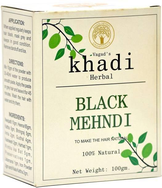 vagad's khadi Herbal Hair Color, Black, 100g Natural Mehendi