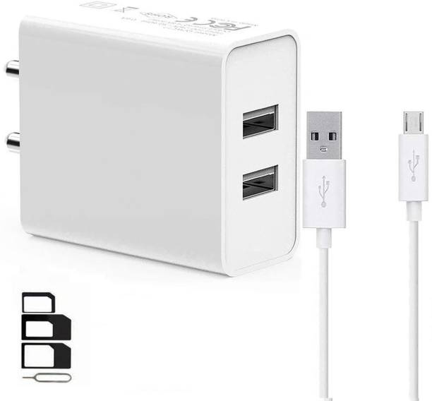 ShopsYes Wall Charger Accessory Combo for Xiaomi Poco F1, Moto X4, LG G5, LG Q Stylus, OnePlus 5, Sony Xperia XA1 Ultra, Nokia 6.1 (Nokia 6 2018), LG V30 Plus, Sony Xperia XZ Premium, Nubia Red Magic, Honor 8, Sony Xperia L2, Xiaomi Mi5, Razer Phone, HOMTOM HT70, Samsung Galaxy A7 2017 Dual Port Charger Original Adapter Like Wall Charger, Mobile Power Adapter, Fast Charger, Android Smartphone Charger, Battery Charger, High Speed Travel Charger With 1 Meter Micro USB Cable Charging Cable Data Cable