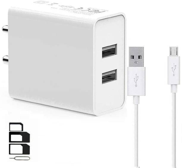 UrCart Wall Charger Accessory Combo for Samsung Galaxy Star 3 Duos, Samsung Galaxy Star Advance, Samsung Galaxy Star Pro S7260, Samsung Galaxy Star S5280, Samsung Galaxy Star Trios S5283, Samsung Galaxy Stellar 4G I200, Samsung Galaxy Stratosphere II I415, Samsung Galaxy Tab 10.1 LTE I905, Samsung Galaxy Tab 10.1 P7510, Samsung Galaxy Tab 2 10.1 P5100 Dual Port Charger Original Adapter Like Wall Charger, Mobile Power Adapter, Fast Charger, Android Smartphone Charger, Battery Charger, High Speed Travel Charger With 1 Meter Micro USB Cable Charging Cable Data Cable
